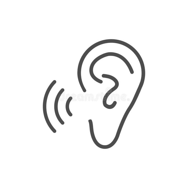 Icono de la audiencia del oído Ejemplo del vector, diseño plano ilustración del vector