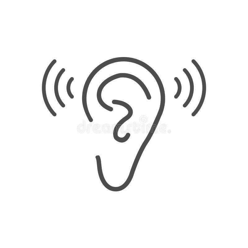 Icono de la audiencia del oído Ejemplo del vector, diseño plano libre illustration