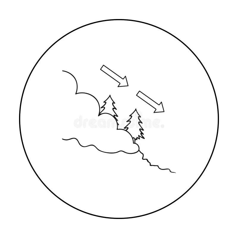 Icono de la avalancha en estilo del esquema aislado en el fondo blanco Ejemplo del vector de la acción del símbolo de la estación ilustración del vector