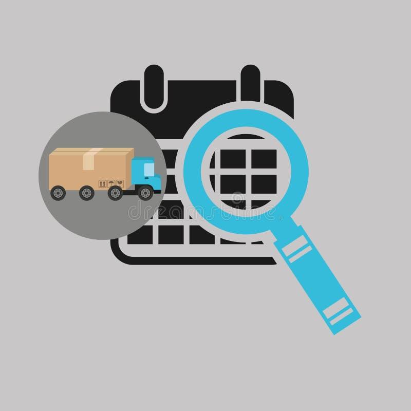 Icono de la búsqueda del calendario del concepto del camión de reparto stock de ilustración