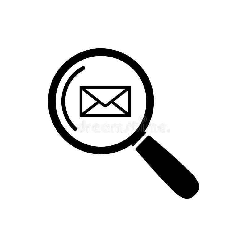 Icono de la búsqueda del correo electrónico en símbolo plano de la búsqueda del correo del estilo ilustración del vector