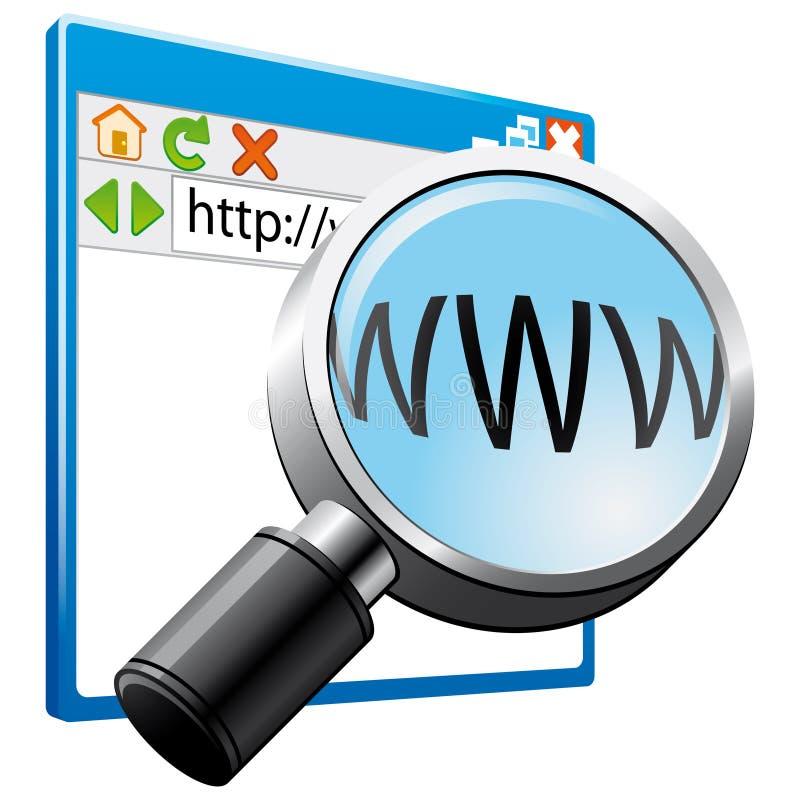 Icono de la búsqueda del Internet ilustración del vector