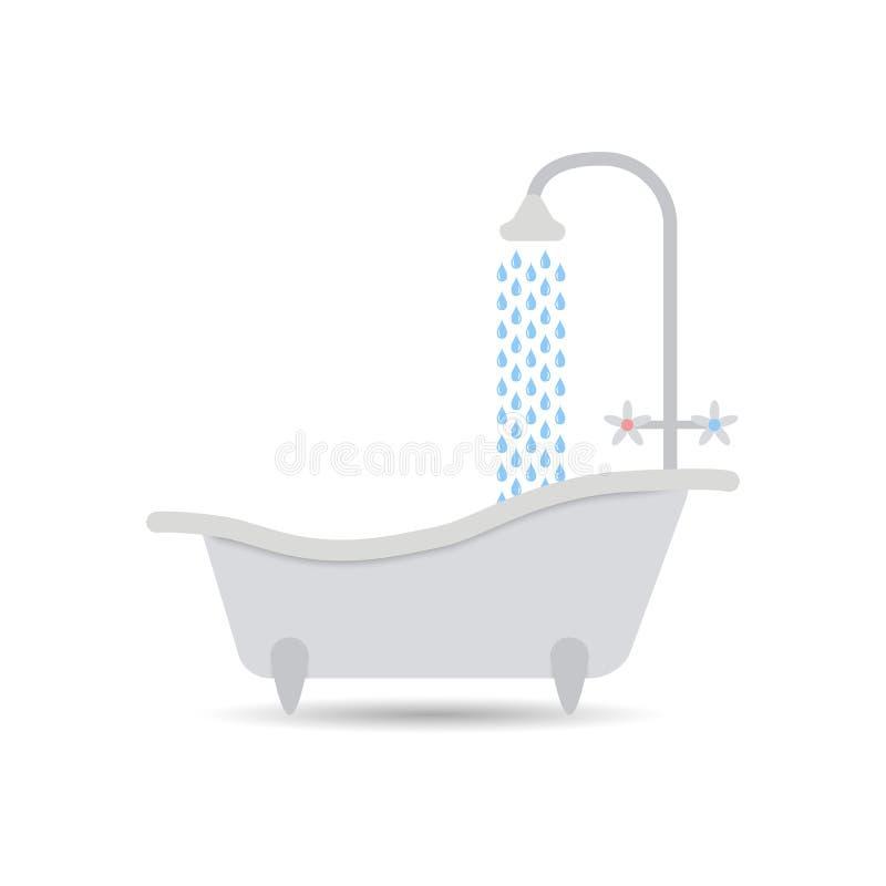 Icono de la bañera con la agua corriente Vector de la bañera aislado en un fondo ligero Elemento para su diseño stock de ilustración