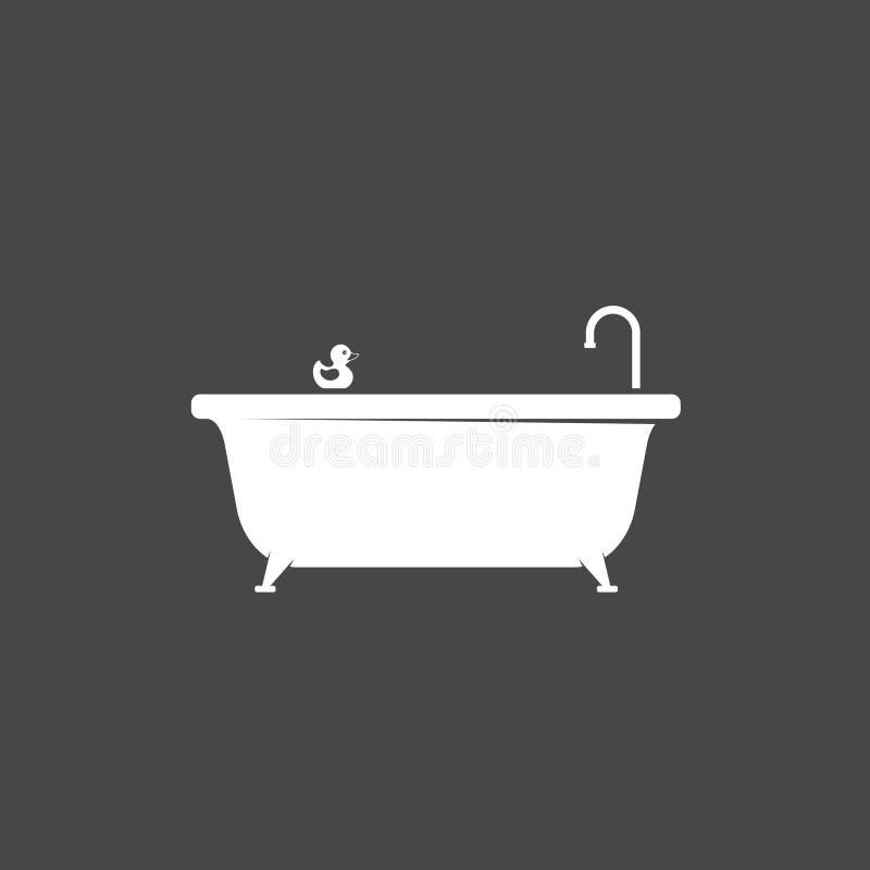 Icono de la bañera e icono de goma del pato del baño aislado en fondo oscuro Tiempo del baño stock de ilustración