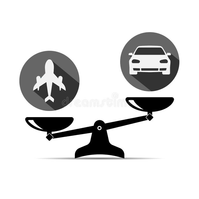 Icono de la balanza coche y aeroplano coche seguro plano Ilustración del vector libre illustration