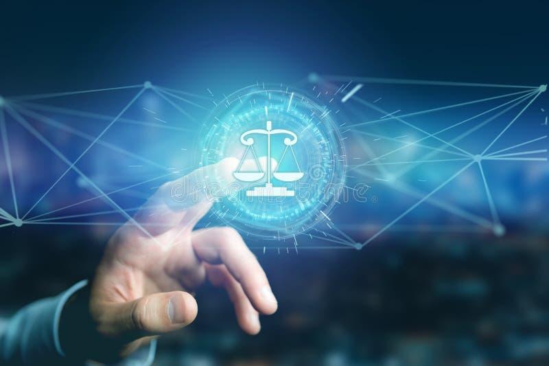 Icono de la balanza de la justicia en un interfaz futurista stock de ilustración