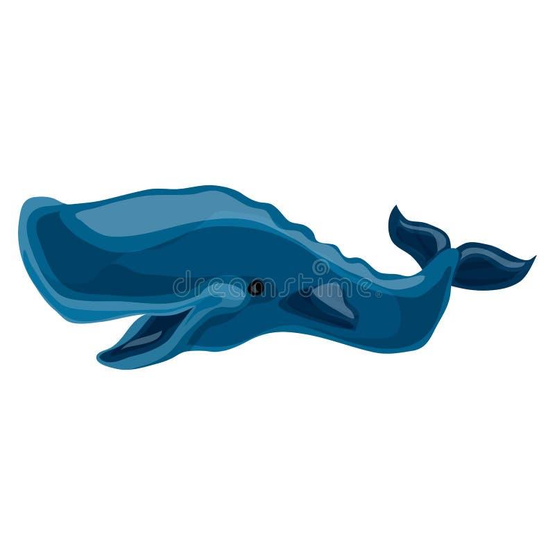 Icono de la ballena azul, estilo de la historieta libre illustration