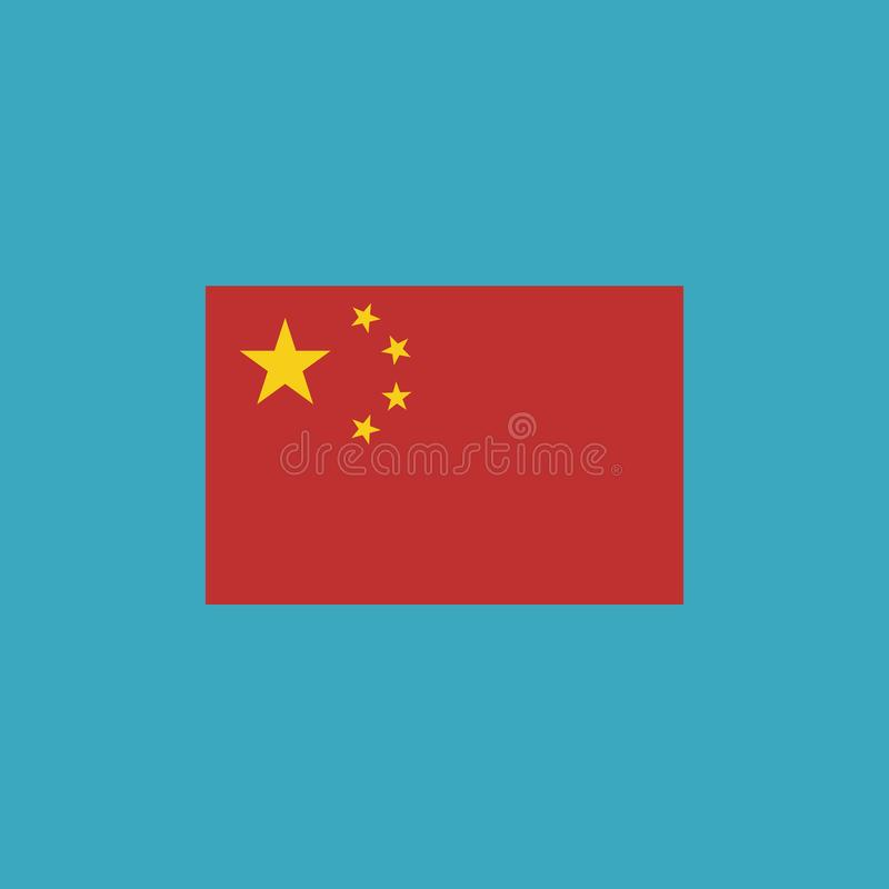Icono de la bandera de China en diseño plano ilustración del vector