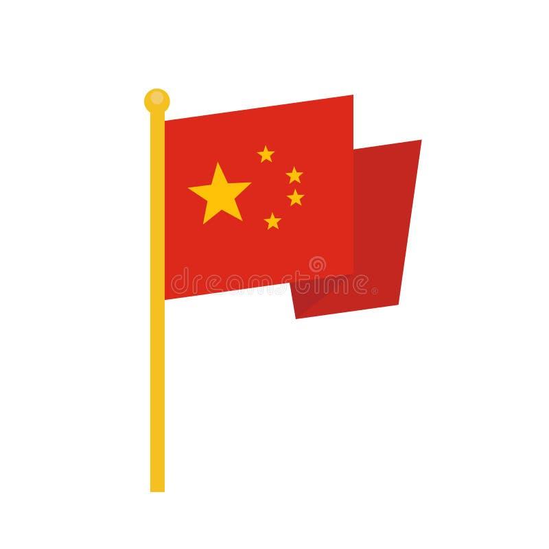 Icono de la bandera de China, estilo plano del diseño del illustion del vector fotografía de archivo libre de regalías