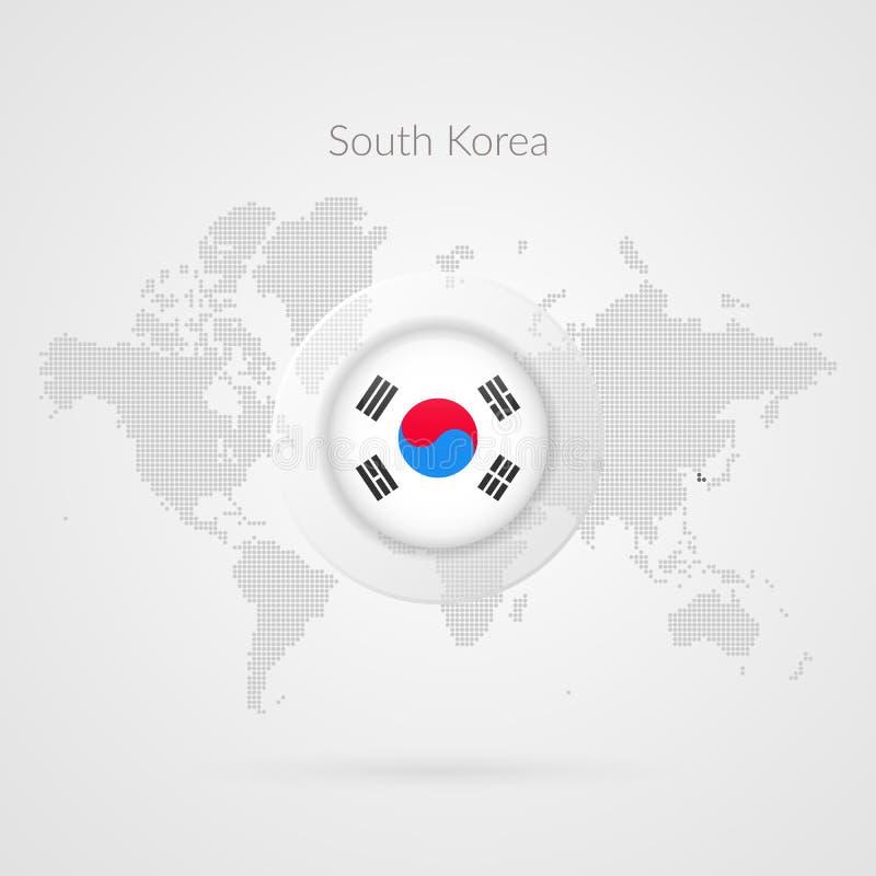 Icono de la bandera de la Corea del Sur Símbolo infographic del mapa del mundo del vector Plantilla coreana para el negocio, proy stock de ilustración
