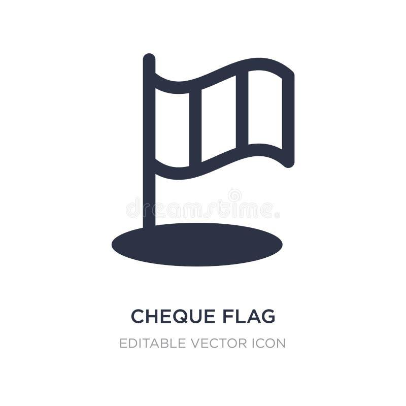 icono de la bandera del cheque en el fondo blanco Ejemplo simple del elemento del concepto de los deportes stock de ilustración