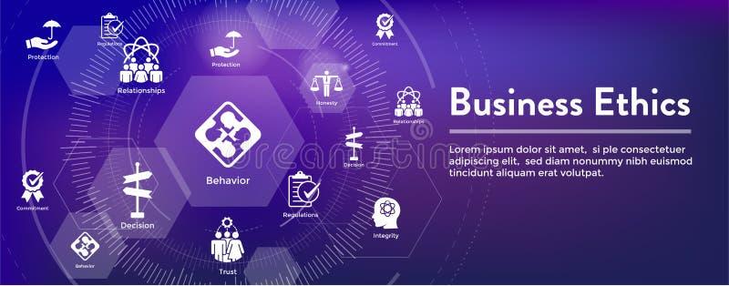 Icono de la bandera del web de la ética empresarial fijado con la honradez, integridad, COM stock de ilustración