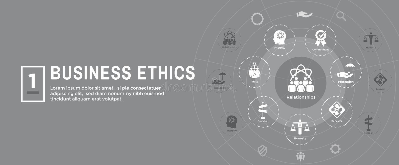 Icono de la bandera del web de la ética empresarial fijado con la honradez, integridad, COM ilustración del vector