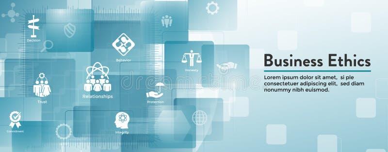 Icono de la bandera del web de la ética empresarial fijado con la honradez, integridad, COM libre illustration