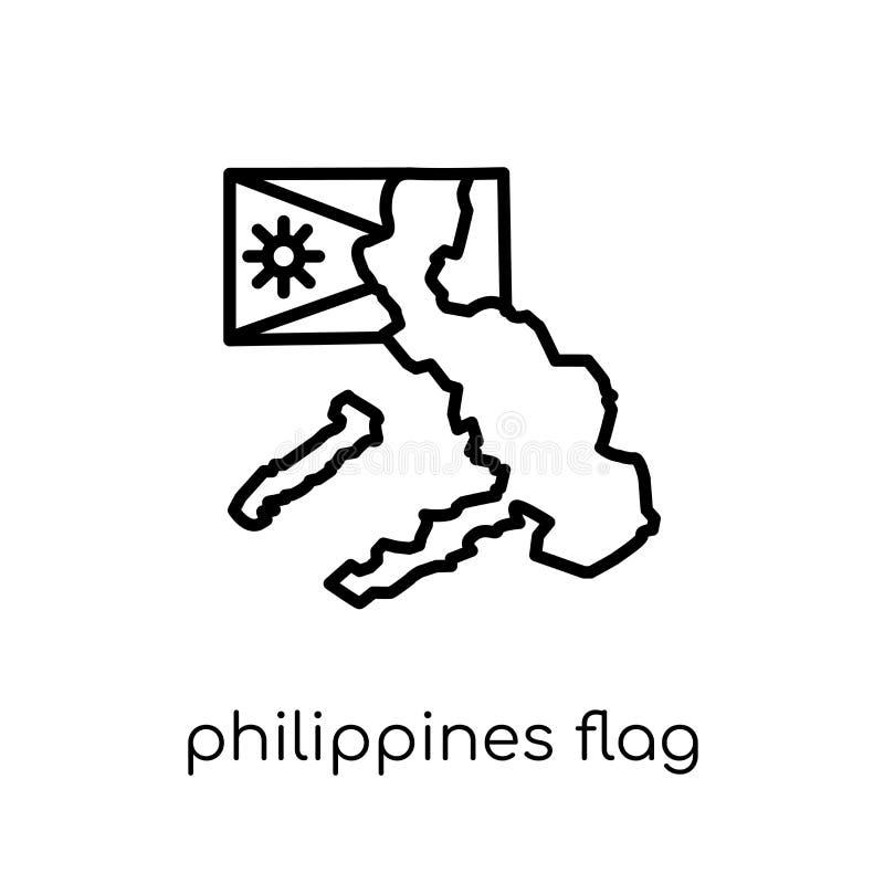 Icono de la bandera de Filipinas  stock de ilustración