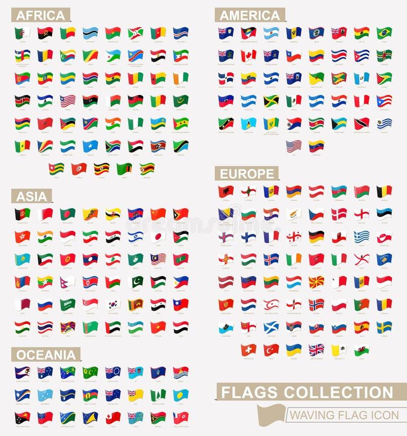 Icono de la bandera que agita, colección grande de las banderas clasificados por los continentes y alfabéticamente stock de ilustración