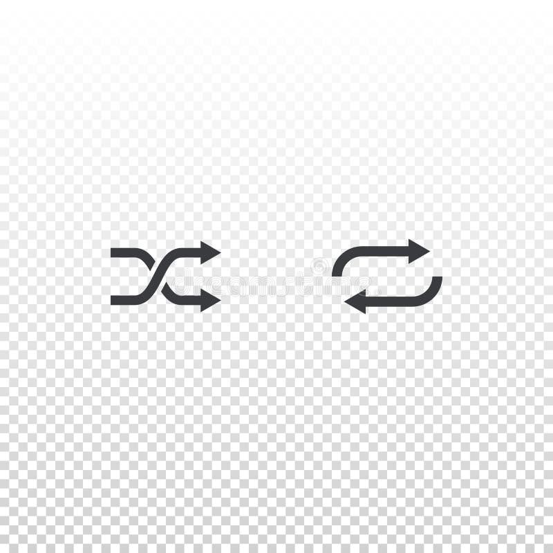 Icono de la barajadura y del lazo aislado en fondo transparente Elemento del esquema para el app móvil del diseño, la página web  ilustración del vector