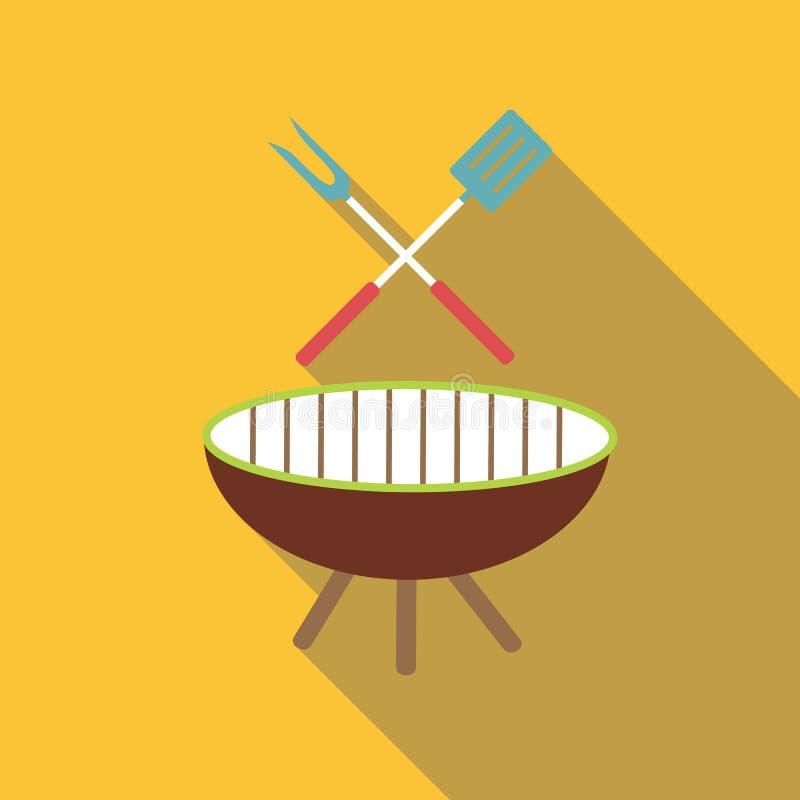 Icono de la barbacoa, estilo plano ilustración del vector