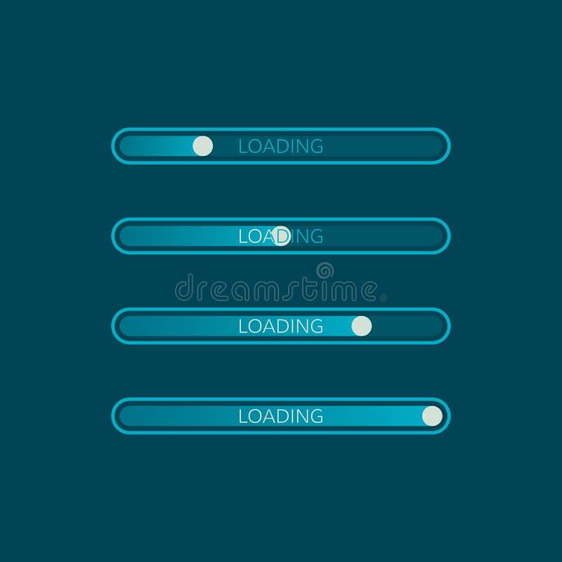 Icono de la barra de cargamento Elemento creativo del diseño web Progreso del sitio web del cargamento Ilustración del vector stock de ilustración