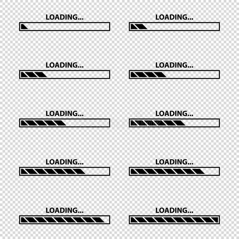 Icono de la barra de cargamento fijado - ejemplos del vector - aislado en fondo transparente stock de ilustración