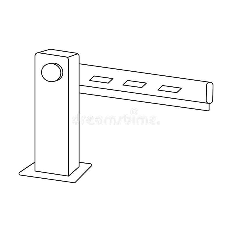 Icono de la barrera del estacionamiento en estilo del esquema aislado en el fondo blanco Ejemplo del vector de la acción del símb ilustración del vector