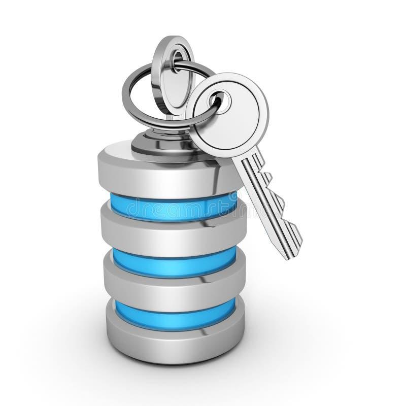 Icono de la base de datos con las llaves de la seguridad stock de ilustración
