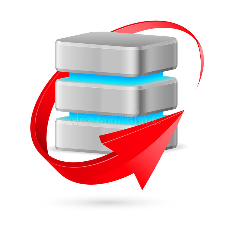 Icono de la base de datos con símbolo de la actualización. ilustración del vector