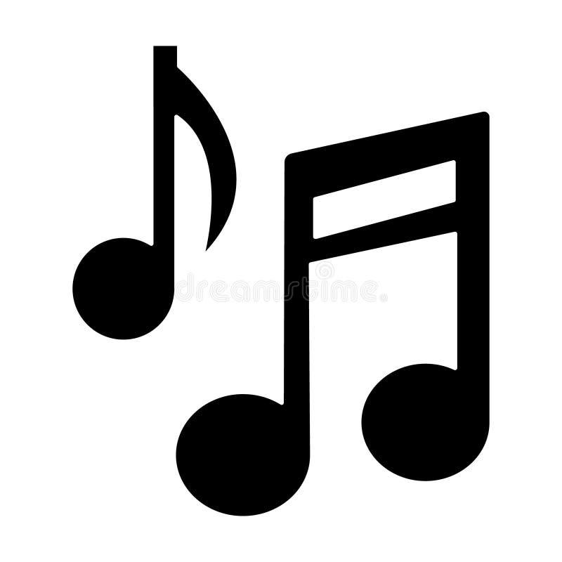 Icono de la base de la nota de la música, ejemplo del vector, muestra negra en fondo aislado ilustración del vector