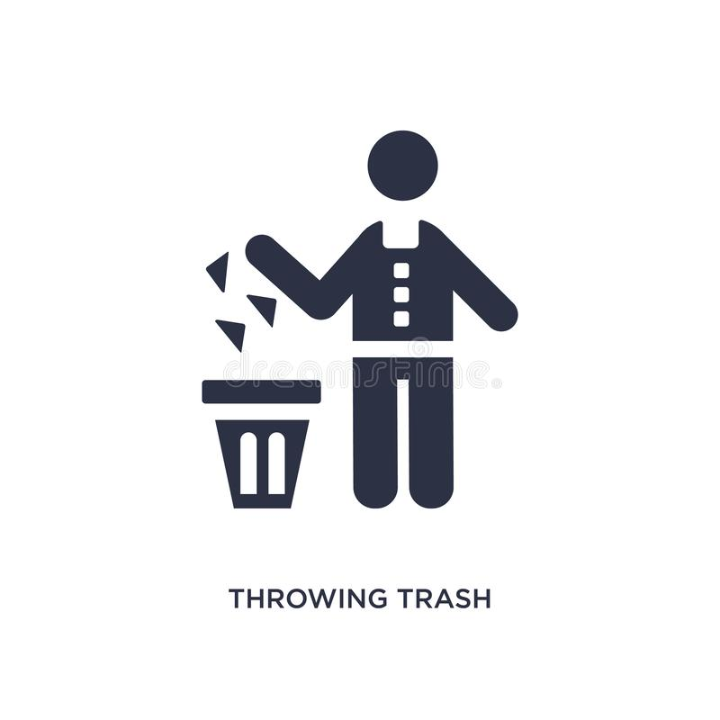 icono de la basura que lanza en el fondo blanco Ejemplo simple del elemento del concepto del comportamiento stock de ilustración