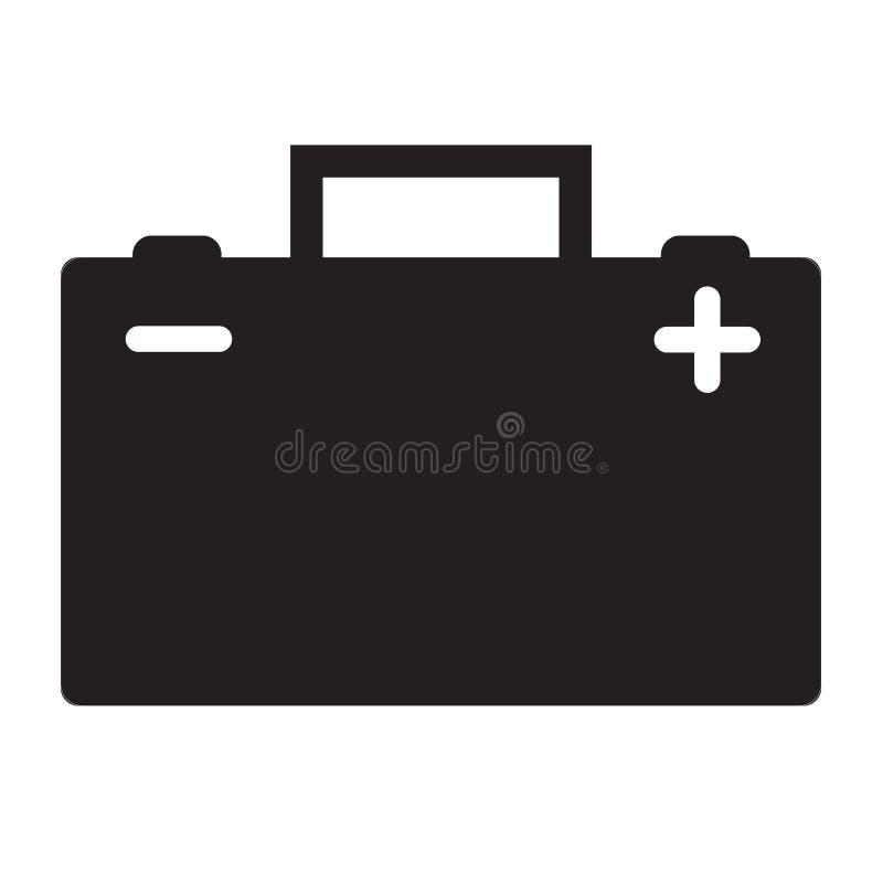 Icono de la batería de coche en el fondo blanco icono para su diseño del sitio web, logotipo, app, UI de la batería de coche símb ilustración del vector