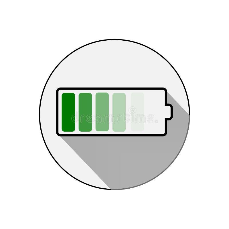 Icono de la bater?a del vector Icono de la energía de la carga de la batería del acumulador Ilustraci?n del vector stock de ilustración