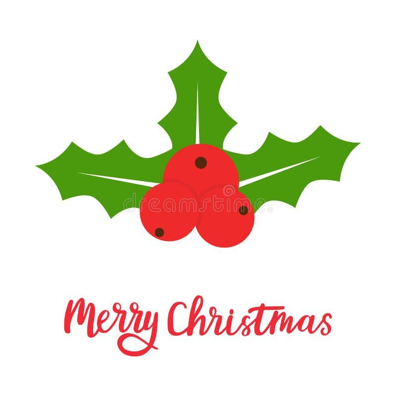 Icono de la baya del acebo Símbolo de la Feliz Navidad Elemento para la guirnalda, festivo, tarjeta, web, cartel, papel pintado d libre illustration