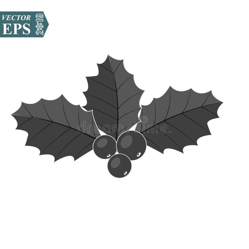Icono de la baya del acebo Símbolo de la Navidad Elemento de la decoración del día de fiesta de Navidad Ilustración del vector ilustración del vector