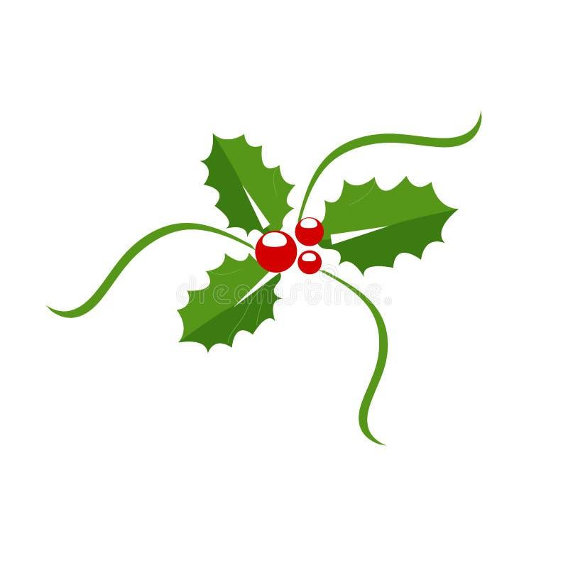 Icono de la baya del acebo, símbolo de la Navidad Ilustración del vector ilustración del vector