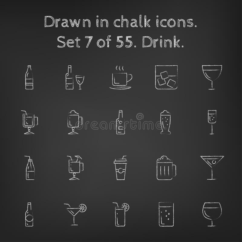 Icono de la bebida fijado dibujado en tiza libre illustration