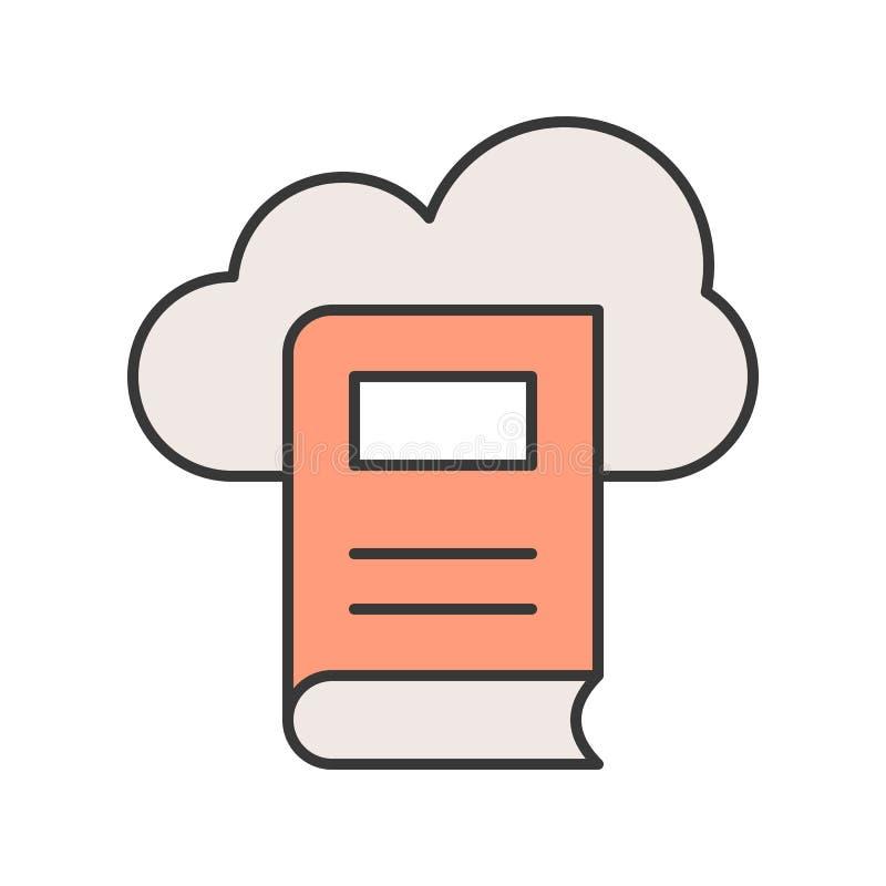 Icono de la biblioteca de la nube en el esquema llenado, movimiento editable ilustración del vector