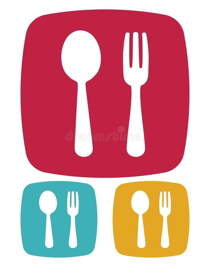 Icono de la bifurcación y de la cuchara - muestra del restaurante stock de ilustración