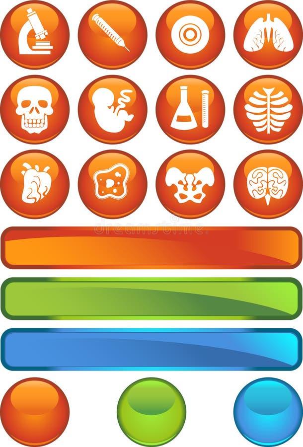 Icono de la biología fijado - serie del botón del Web stock de ilustración