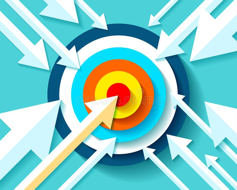 Icono de la blanco del volumen en estilo plano en fondo del color Las flechas vuelan al objetivo de centro Elemento del diseño de libre illustration
