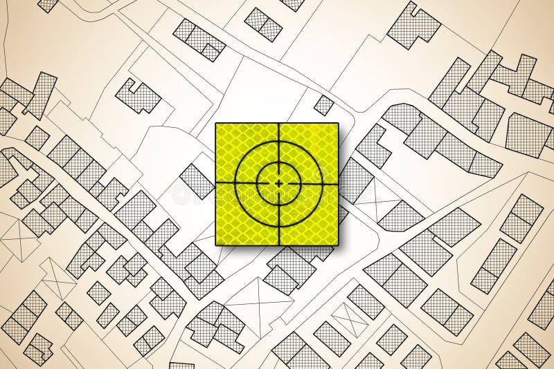 Icono de la blanco sobre un mapa catastral imaginario del territorio con los edificios, los caminos y el paquete de tierra - imag stock de ilustración