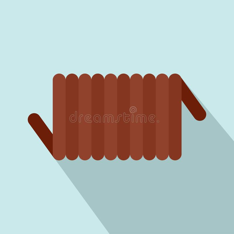 Icono de la bobina de la primavera del cordón, estilo plano ilustración del vector