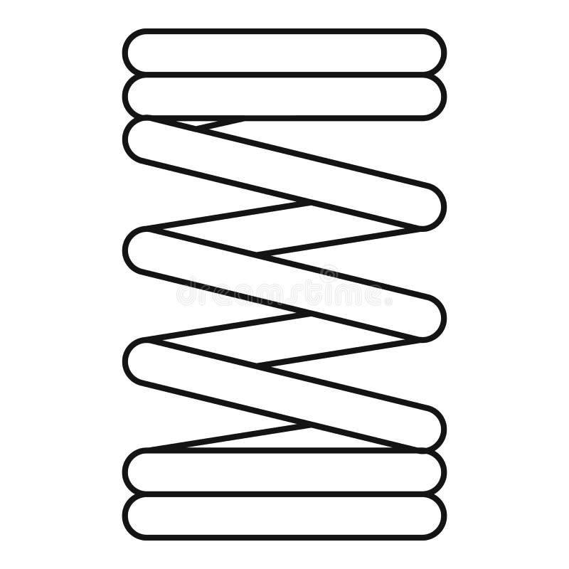 Icono de la bobina de la primavera, estilo del esquema stock de ilustración