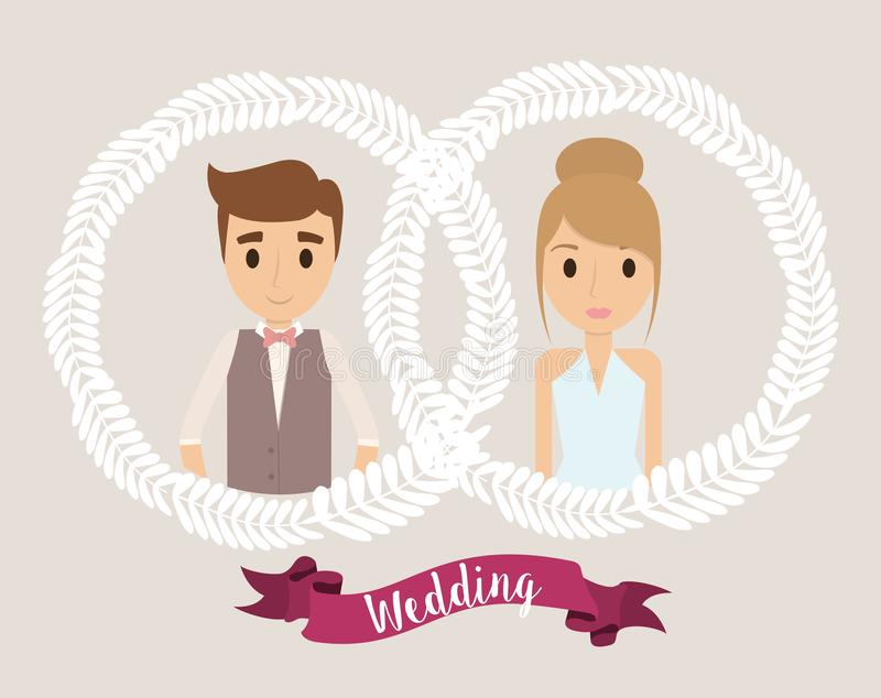 Icono de la boda de la corona de la historieta de los pares Gráfico de vector libre illustration