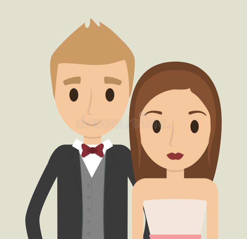Icono de la boda de la boda de la historieta de los pares Gráfico de vector ilustración del vector