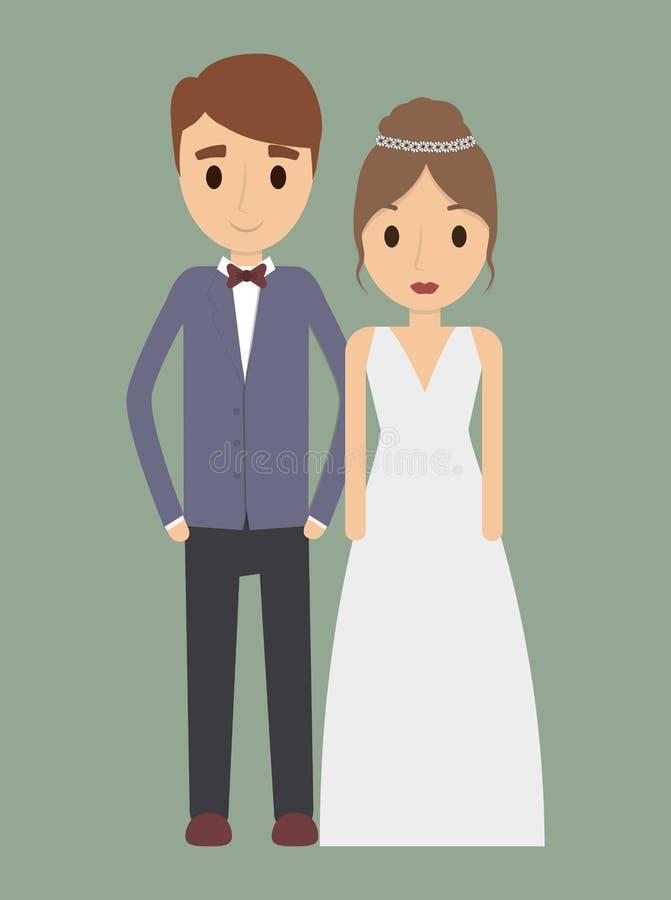 Icono de la boda de la boda de la historieta de los pares Gráfico de vector stock de ilustración