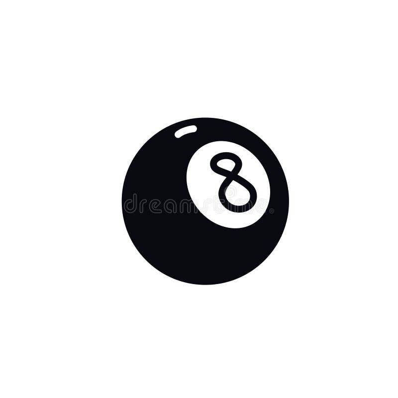 Icono de la bola de billar del n?mero ocho Vector Ejemplo de una bola m?gica Muestra de la historieta, s?mbolo stock de ilustración