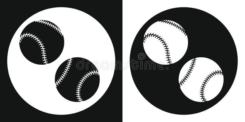 Icono de la bola del béisbol Bola del béisbol de la silueta en un fondo blanco y negro Equipo de deportes Ilustración del vector stock de ilustración