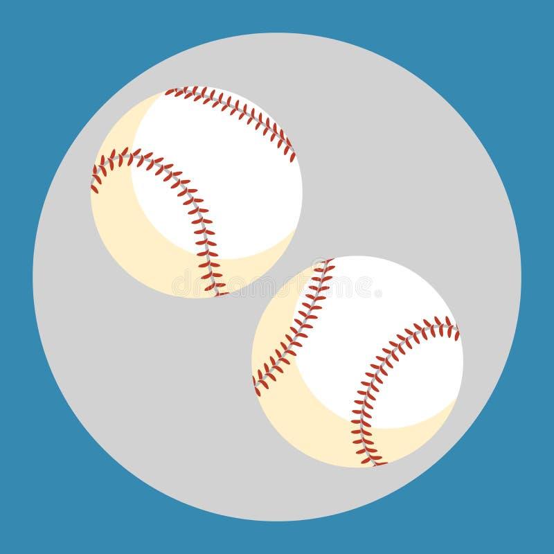 Icono de la bola del béisbol Dos bolas blancas en un fondo azul Equipo de deportes Ilustración del vector libre illustration
