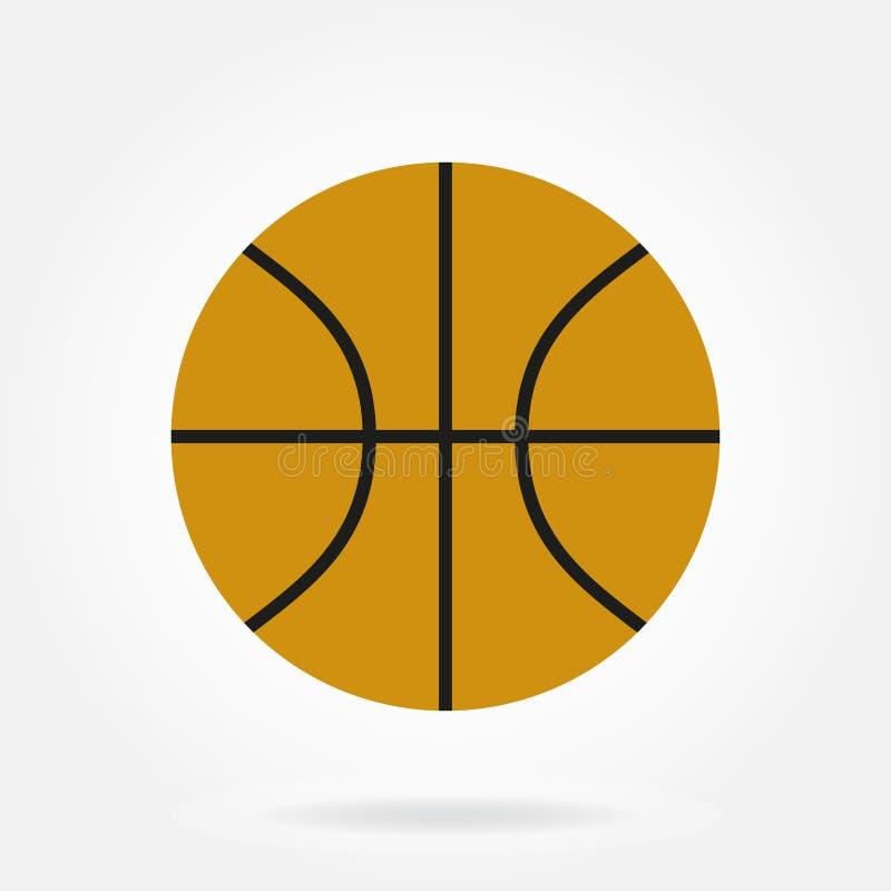 Icono de la bola del baloncesto en estilo plano aislado en el fondo blanco Ilustración del vector libre illustration