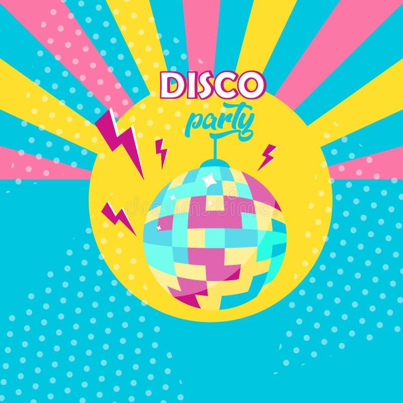 Icono de la bola de discoteca Cartel del partido de disco Estilo retro libre illustration